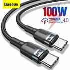 Baseus 60W/100W USB C to Type C Charger Cable Fast Charge Lead Laptop Data Cord