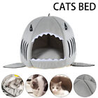 Pet House Cave Fleece Padded Bedding Dog Puppy Cat Bed Shark Warm Washable House