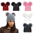 Winter Warm Knitted Soft Faux Fur Double Pom Pom Beanie Hat With Plush Lining