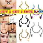 Women Stainless Steel Nose Ring Jewelry Fake Septum Non Piercing Girl Gifts Uk~