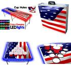 8-Foot Professional Beer Pong Table With Cup Holes  LED Glow Lights - America E