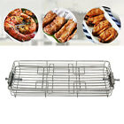 Stainless Steel Rotary Grill Basket BBQ Roaster Spit Rotisserie Oven Baking Cage photo