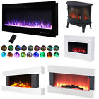 LED Electric Wall Mounted/Inset Fire Place Fireplace Room Heater Remote or Wifi