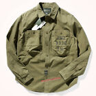 American Work Shirt Men's Long Sleeve Cotton Washed Old Jacket Casual Shirt New
