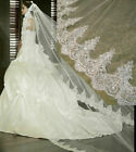 20 White Ivory Cathedral 3M Long Sequins Lace Edge Wedding Bridal Veil with Comb