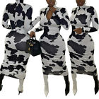 Womens Sexy Casual Zip-Up Long Sleeve Cow Animal Pattern Bodycon Dress S-2XL