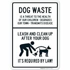 Leash and Clean Up After Your Dog Sign, Dog Waste Sign, 10x14 Rust Free...