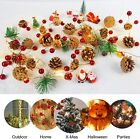 7FT Christmas Garland with Pine Cone Red Berry Bell LED Fairy String Lights Deco