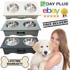 Dog Cat Pet Food Feeding Stand Station Stainless Double Raised Bowls Wooden A++