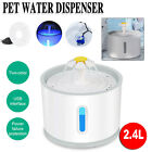 Cat LED Drinking Water Fountain Pet Dog Electric Automatic Bowl Filter 2.4L