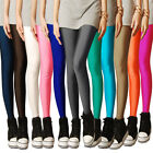 Women Girl Fashion Legging Shiny Pencil Pants Fluorescent Color Stretch Trousers