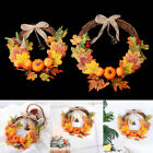 Autumn Halloween Pendant Artificial Leaves Wreat Pumpkin Wreath Door Hanging