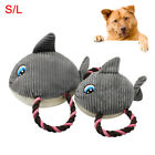 EG_ FJ- PET DOG PUPPY SHARK SHAPE PLUSH DOLL COTTON ROPE SQUEAKY CHEW PLAY TOY S