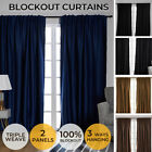 2x Blockout Curtains Curtain Blackout Bedroom Window Eyelet Draperies Pair