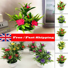 Artificial Potted Flowers Fake False Plants Outdoor Garden Home In Pot Decor Uk
