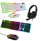 Gaming Gamer Keyboard & Mouse/headset Set Led Backlit For Ps4 Xbox Pc Computer