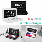 iPhone Samsung Wireless Charger Alarm Clock Brightness Bedside Lights Calendar