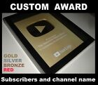 GOLD or RED Fake Custom Award YouTube Play Button Plaque Replica Sub Wall Frame