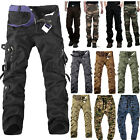 Mens Casual Tactical Cargo Pants Multi Pocket Army Military Combat Work Trousers