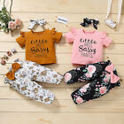 Toddler Baby Girls Short Sleeve Letter Printed Tops Floral Bowknot Pants Outfits