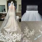 Cathedral Length Lace Edge Wedding Bridal Trailing Veil 3M Comb White/Ivor New