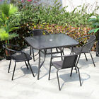 Garden Furniture Glass Top Table & Stackable Chair Set Patio Coffee Parasol Hole