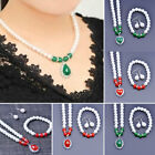 3pcs/set Three-piece Set Bracelet Pearl Earring Necklace Mother's Day Gift