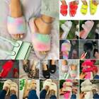 Womens Fluffy Fur Slippers Slip On Sandals Ladies Casual Flatfrom Slider Shoes