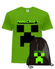 T-shirt MINECRAFT maglietta cotone + Sacca KIT for the gamers
