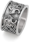 GuoShuang Nordic Viking Stainless Steel Bear Knot Amulet Ring Celtic Knot Ring
