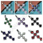 Amethyst & More Mixed Gemstone 925 Sterling Silver Plated Cross Pendants