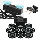 DM10 Electronic Drum Pad Set Portable Roll Up Foldable Kit speed-adjustable 2A