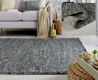 SMALL LARGE THICK DARK GREY CHARCOAL PEBBLES BOBBLY 100% WOOL 3D MINERALS RUG