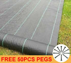 1-4m wide 100GSM Heavy Duty Weed Control Fabric Membrane Ground Cover Mat + Pegs