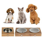 Pet Cat Bowls with Bamboo Stand Pet Dining Table Cat Feeder with Raised Bamboo
