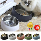 Pet Cat Kitten Feed Bowl Raised Food Stand Tilted Elevated Stainless Steel UK~