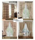 LINED Natural Tapestry Jacquard Curtains + Ties 8 Sizes