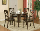 5 PC BOSTON ROUND DINETTE DINING TABLE & 4 WOOD SEAT CHAIRS IN CAPPUCCINO