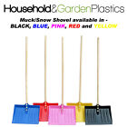 COLOURED MUCKING OUT/SNOW SHOVEL WITH WOODEN STALE - RED OR YELLOW