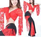 UK08# Belly Dance Costume Lace (Flared Sleeve Top,Tribal Pants) 9 Colors