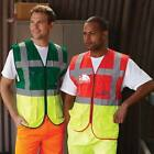 HI VIZ TWO COLOUR ZIP VEST MOTORCYCLISTS POCKETS & ID