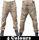 Mens Chino Drop Crotch Cuffed Jogger Carrot Fit Jeans