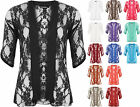 New Plus Size Womens Floral Lace Short Sleeve Ladies Open Cardigan Top 12-26