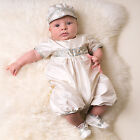 "Baby Beau & Belle ""Cooper"" Boys Ivory Silk Christening Jumpsuit, Baptism suit"