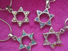 SILVER MULTICOLORED CRYSTAL MAGEN STAR OF DAVID PENDANT+CHAIN JUDAICA ISRAEL