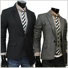 (NJK2) THELEES Mens casual unbalance 1 Button slim fitted jacket blazer coat