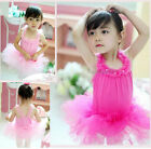 2Color Girl Leotard Ballet Tutu Skirt Dance Dress 2-7Y Short Sleeve Costume New