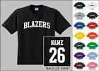 Blazers College Letters Custom Name & Number Personalized T-shirt
