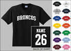 Broncos College Letters Custom Name & Number Personalized T-shirt