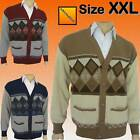 Mens Classic Argyle Grandad Button Cardigan Jumper Cardi New XXL,2XL